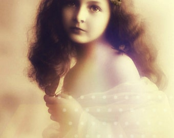 Vintage image altered art,Charming Girl,Butterfly,Image Instant Download.