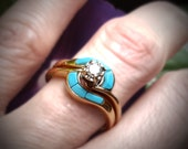 Turquoise Diamond Galaxy  Engagement/Wedding Ring - made to order