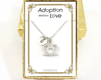 Adoption Gifts,  Adoption Necklace, Adopting, Adoption Symbol, Foster Parent, Birth Mother, Adoption Means Love Jewelry Born In My Heart