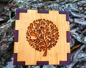 Whimsical tree of life box! Engraved on solid cherry to last a lifetime. Great gift