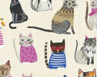 Windham-Hot Dogs & Cool Cats Collection 100% Gots Organic by Carolyn Gavin Cool Cats 42080-4 in Cream
