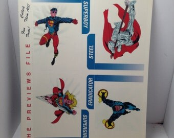 Vintage uncut promo tradings cards 1995 superman dc comics steel supergirl