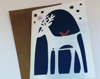 Reindeer Christmas card pack, 5 christmas Cards, christmas card boxed sets, festive reindeer cards pack of cards, modern greetings cards
