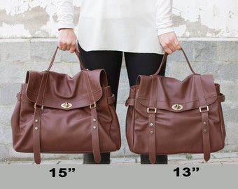 Women leather satchel - Leather messenger bag women - Laptop bag women - MELINA bag