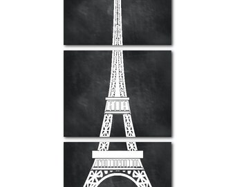Eiffel Tower Wall Art Set of Three PRINTs - Paris, France - Wall Art Trio - Room Decor - Eiffel Tower PRINT - Girls room wall decor