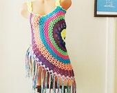 Crochet Vest, Bohemian Vest. Multicolor Festival Vest, Boho Style Vest, Hippie Bolero, Crochet Circular Vest Bohemian Waistcoat Lace Vest