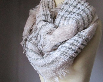 Chunky winter scarf, cream and grey scarf, blanket scarf, winter scarf, Wool look scarf