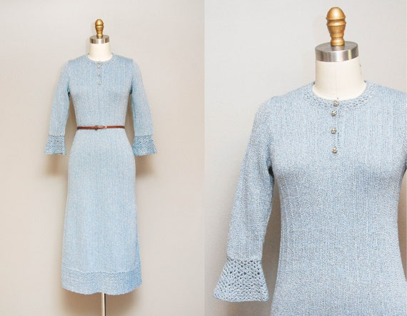 Vintage 1930s Knit Dress / 30s Silvery Powder Blue Sweater