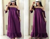 Sexy.....violet Maxi Beautiful  cotton Dress/Summer Dress/Party Dress