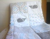Blue and Gray Nautical Baby Quilt, Baby Blue Whale Nursery Quilt, Blue and Gray Crib Quilt, Nautical Nursery Bedding