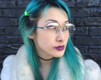 Vintage Unused Dorothy Hamill 1980s Deadstock Eyeglasses Frames Blue & Silver Glasses