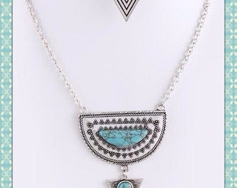 Tribal Howlite Turquoise Necklace