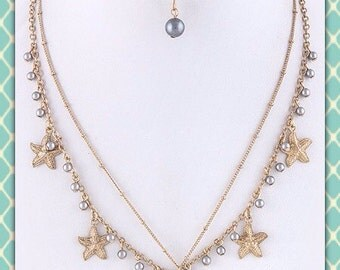 Freshwater pearl and starfish layered necklacw