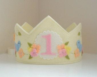 Felt Birthday Crown with Blue Bird, First Birthday, Girl, Wool Felt