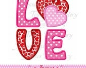 Instant Download Valentine's day Love With Heart Applique Embroidery Design NO:1936