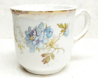 Antique Shaving Cup Maddocks Royal Porcelain Lamberton Chamber Cup White Porcelain  Blue Flowers With Gold Trenton NJ New Jersey
