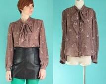 Vintage 80s Tie Neck Blouse - Brown Secretary Blouse - Sheer Floral Blouse - Long Puffy Sleeve Bow Blouse - Animal Print Shirt - Size Medium
