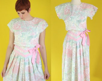 Vintage 80s Party Dress - Pastel Pink Floral Dress - Pleated Midi Dress - Summer Dress with Pockets - Dolman Sleeve Dress - Size Small / XS