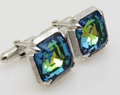 Vintage Blue Rhinestone Cufflinks Swank Accessories H824