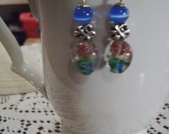 Blue and Pink Flowered Earrings - Free Shipping