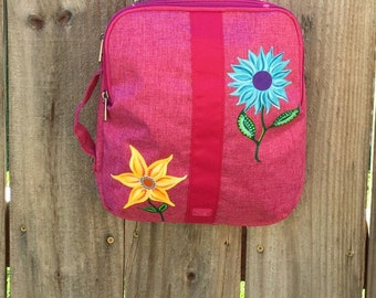 iPad Tablet Padded Case with Strap, Pink Ipad Bag, Crossbody Purse, Painted Flowers