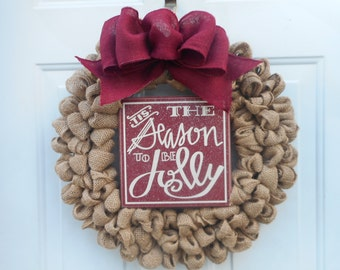 Christmas burlap wreath Holiday burlap wreath Country Christmas burlap wreath Rustic burlap Christmas wreath Christmas decor door decor RTS