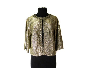1950s Gold Lurex Cocktail Jacket Shrug Cardigan with Clip Closure Neck - Vegan - Small Medium - Can be worn Large if not closed
