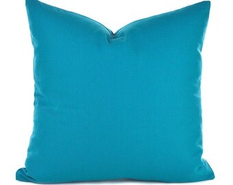 Blue Pillow Covers ANY SIZE Decorative Pillow Cover Aqua Pillow Turquoise Pillow Solid Caribbean Bue