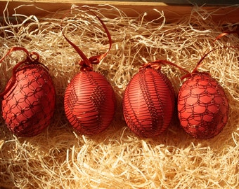 Handmade Copper Wire Wrapped Easter Eggs - Set of 4 Monochrome