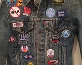 SALE** NEW** vintage levi's Denim jacket with new patches, auto and misc themed
