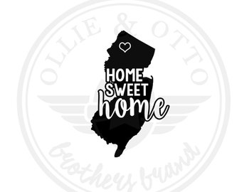 New Jersey State Love Custom Home Sweet Home Vinyl Decal - customizable