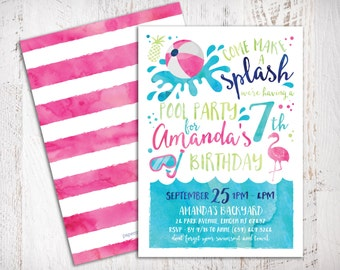 Come Make A Splash Girl Pool Party Birthday Printable PDF invitation - 5x7 double sided - Summer Watercolor Invitation - Girl Pool Party