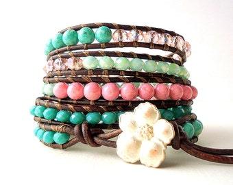 Leather Wrap Bracelet, 5 wrap bracelet, rose pink bracelet Apple Green bracelet, emerald green bracelet hibiscus bracelet, spring trend 2018