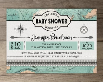 Travel Theme Baby Shower Invitations • Vintage Map • printables