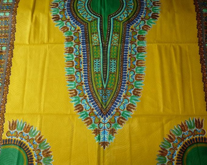 2 YARDS  Yellow mustard Dashiki /Makenzi/Java African Wax Prints /Fabrics For Dressmaking/ Sewing/Cotton Fabrics/Kitenge/Tissues Africain