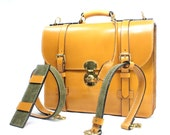 London Tan Bridle Leather Briefcase With a Army Green Calf Suede Lining