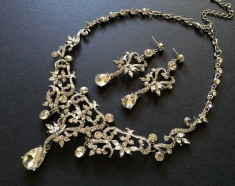 Romantic chandelier wedding bridal bridesmaids necklace and earrings jewelry set, bridal necklace, wedding necklace, rhinestones necklace