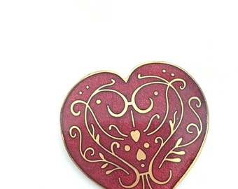 Vintage 1985 SIGNED MMA Enameled Heart Brooch and Pendant