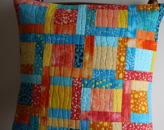Quilted Pillow Cover, Orange Cushion, Turquoise Cushion, Patchwork Pillow, Modern Pillow, Home Décor, Hand Dyed Fabrics