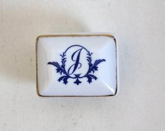 SALE 50 OFF Monogram Vintage Trinket Box Porcelain Letter J Jewelry Box Shabby Chic Monogramed Box