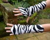 Zebra Print Wrist Warmers, Gauntlets, Fingerless Gloves…...Festival, Boho, Psy, Gypsy, Steampunk, Fantasy