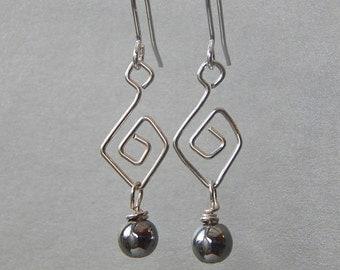 Dangle Earrings, Silver Earrings, Sterling Silver, Drop Earrings, Hematite Earrings,Aphrodite Earrings, Gift Ideas, Gifts For Her