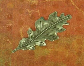 Oxidized  Silver Plated Brass Pendant Stamping of a White Oak Leaf,  Very Detailed,  They Measure 55x22mm. So Elegant