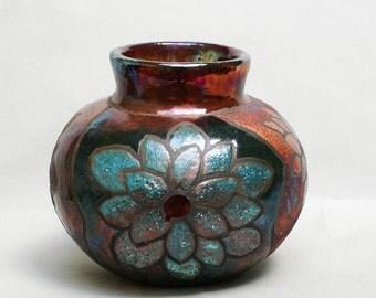 Raku Pottery Vase Home and Living Home Decor Vase Lotus Copper Turquoise Art and Collectibles Fine Art Ceramics Flower Ceramic Raku Pot