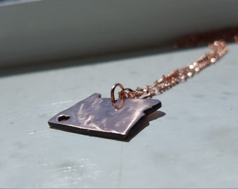 Recycled Copper Oregon Custom Necklace Heart Cut Out State Jewelry Map necklace