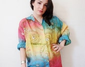 50% OFF LIQUIDATION SALE rainbow golden swirl buttoned 70's vintage hippie blouse - medium - large