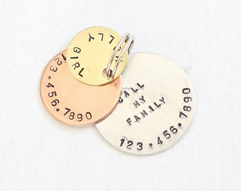 """Dog ID Tag Custom """"Pet ID Tag"""" - Lost Pet Identification Tag - Call My Family Dog Tag for Dogs - Molly Girl Dog Tag Mixed Metals 1.25"""""""