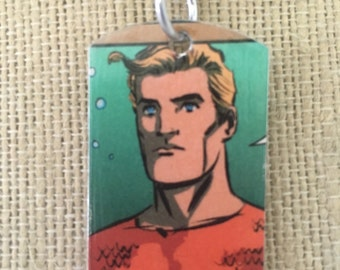 Aquaman upcycled comic book dog tag, includes necklace or keychain. Aquaman necklace. Aquaman keychain.