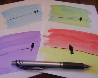 """Handpainted """"Bird on a Wire"""" notecards (blank inside) - Assorted - pack of 4"""