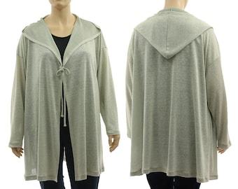 Hooded sweater wrap linen mix in mint, linen mix hoodie in mint, hooded jacket knit fabric mint, lagenlook plus size XL-XXL, US size 18-24